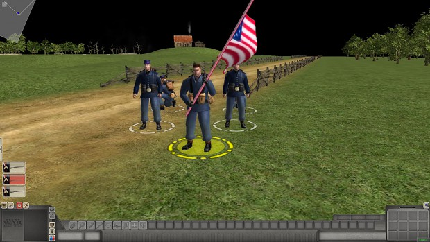Union soldiers with flag