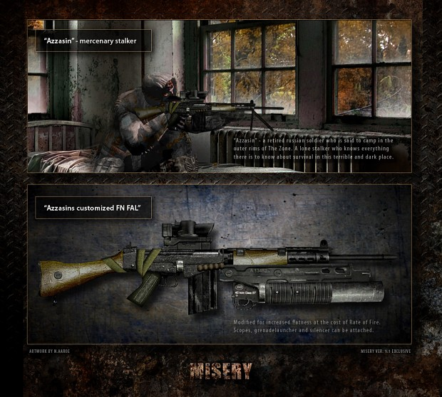 New unique weapon azzasin s fal image misery mod for s t a l k e r