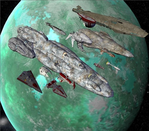 Alliance fleet orbiting Yavin 4