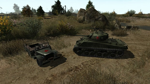M4A3 and Dodge - Soviet marking