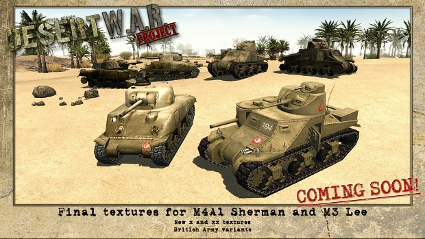 M4A1 Sherman and M3 Lee desert variants image - W A R