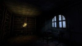 Dimly lit study