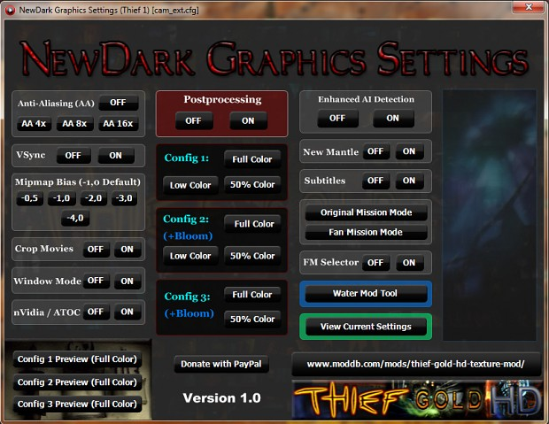 NewDark Graphics Settings Tool v1.0 - Preview