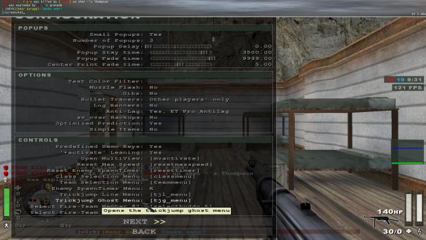 ET Pro Configuration Menu