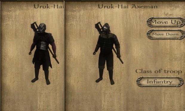 Uruk-Hai Axemen armor variations