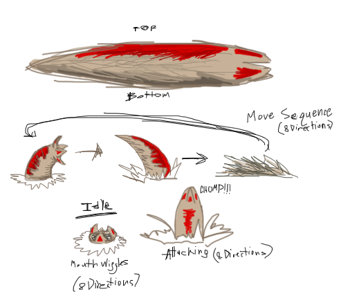 Colony Tunnel Worm Concept Doodle