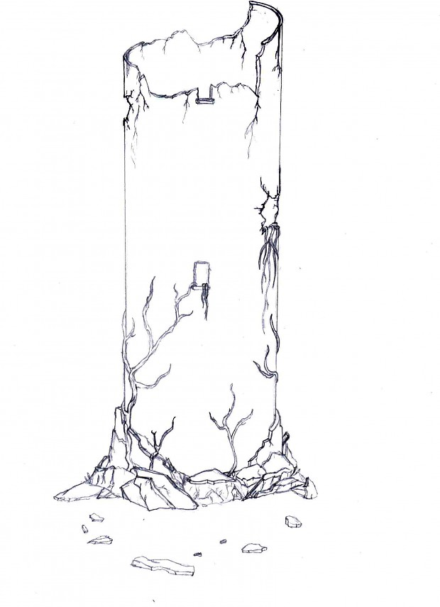 Winterfell - Burned Tower - Concept Sketch