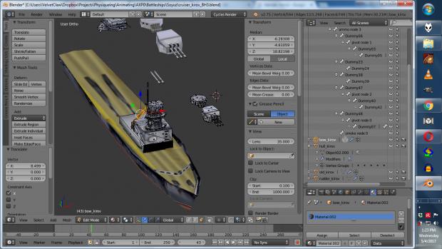 Working with Blender (Kirov cruiser WIP)