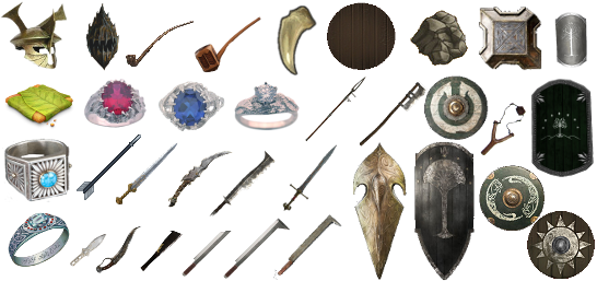 weapons, armours, food, items, rings, pipes ect