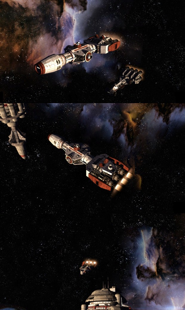 Corellian corvette and gunship