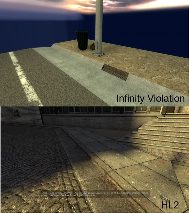 Comparing: A HL2 kerb to Infinity Violation