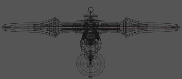 Wireframe showing crosshair