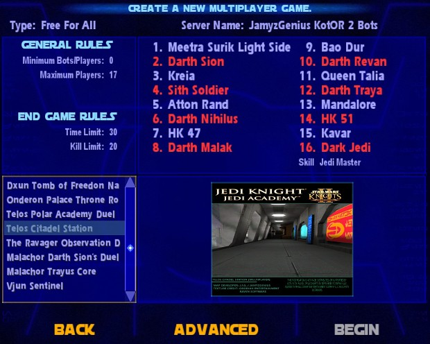 Star Wars Jedi Knight: Jedi Academy - Kotor 2 Duels Bot-Pack