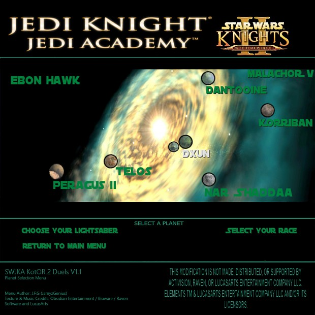 Star Wars Jedi Knight: Jedi Academy - Kotor 2 Duels Planet Selection Menu