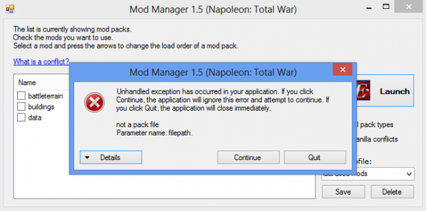 New bug found image - Napoleon Total War Mod Manager Version