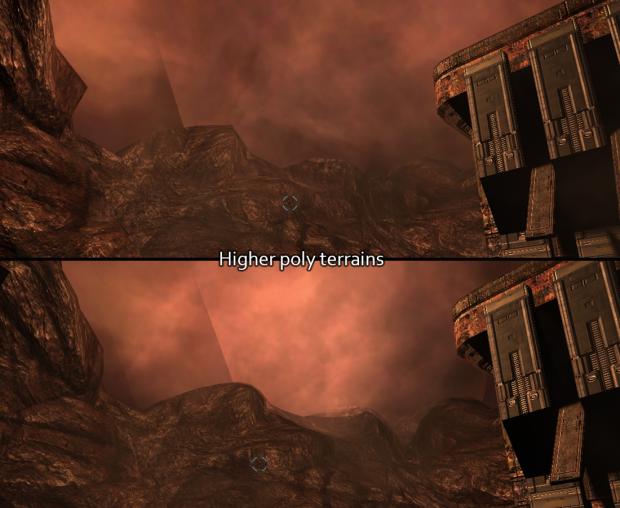 Higher poly terrains in Doom 3 BFG Hi Def 2.4