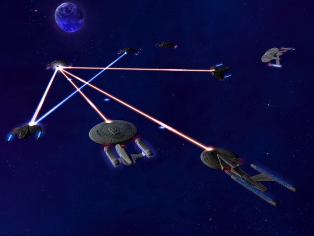 Federation vessel countering a Dominion attack