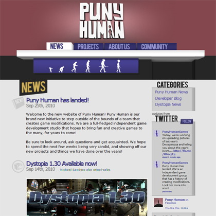 Puny Human website screenshot