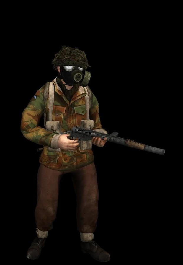 British Airborne w/ gas mask