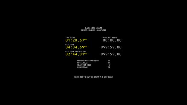 Black Mesa Minute results screen image - Half-Payne (now