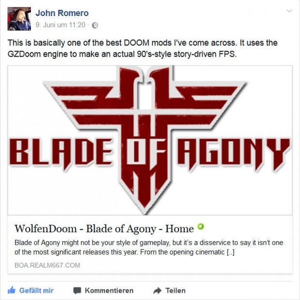 John Romero recommends Blade of Agony