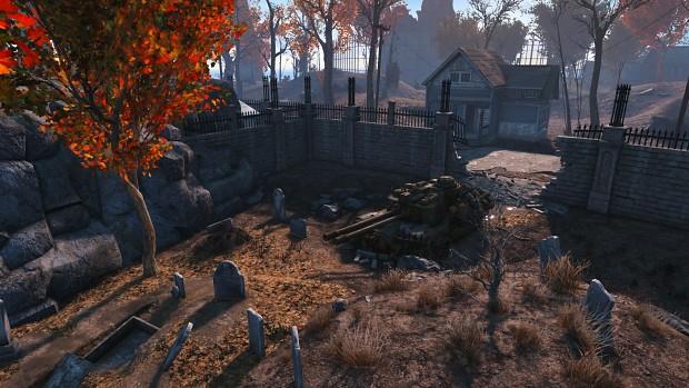 Tank Smashes Thru Cemetery Wall
