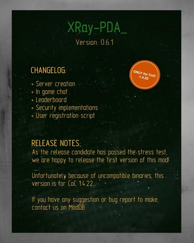 XRay-PDA 0.6.1 Changelog