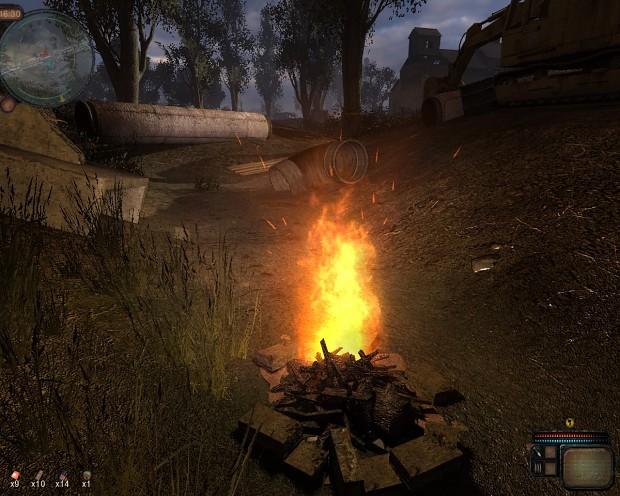 Fire under a bridge