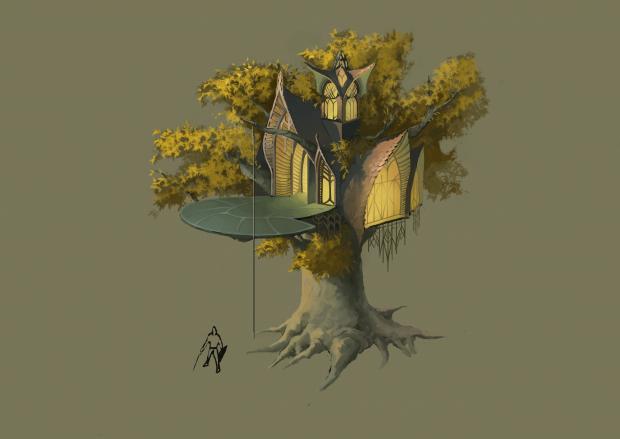 Elven buildings concept art
