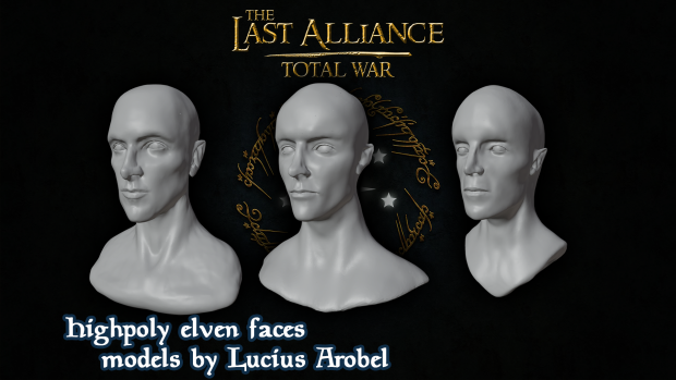 Highpoly elven faces - models by Lucius Arobel