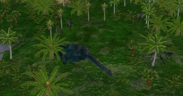 Acrocanthosaurus Pack Hunts A Sauroposeidon image - Random