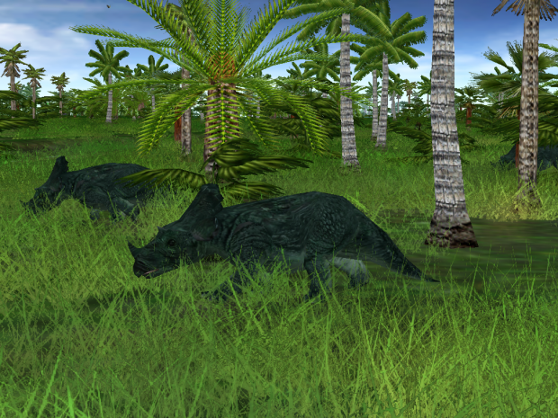 Two Brachyceratops Plays Tag While Other One Watches