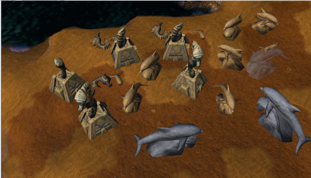 Ruins and Whale Statues