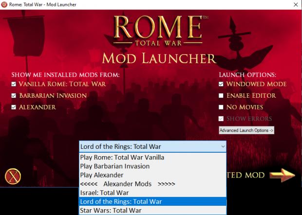 launcher select mod