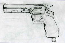 A concept for the Revolver in solstice, the primary sidearm of the Reds.