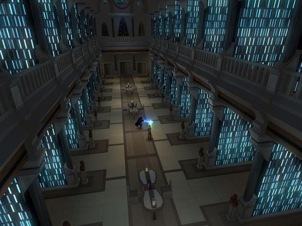 Anakin duels a Jedi at the Jedi Temple Library