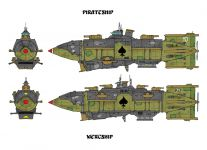 The Air Pirate's Pirateship and Mercship