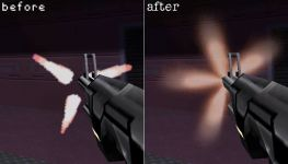 Muzzle Flash, before and after.