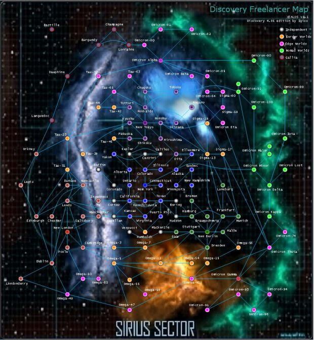 Discovery Freelancer 4.85 System Map