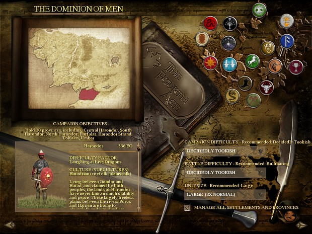The Fourth Age: Total War - The Dominion of Men Campaign_selector