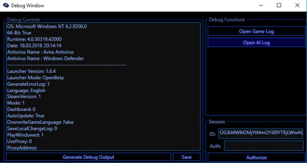 Launcher Debug Window