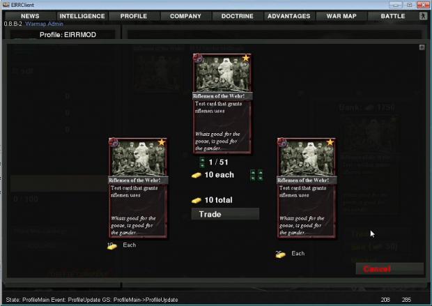 War Card market place (Alpha screenshot)