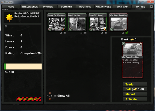 Warcard market is 100% operational