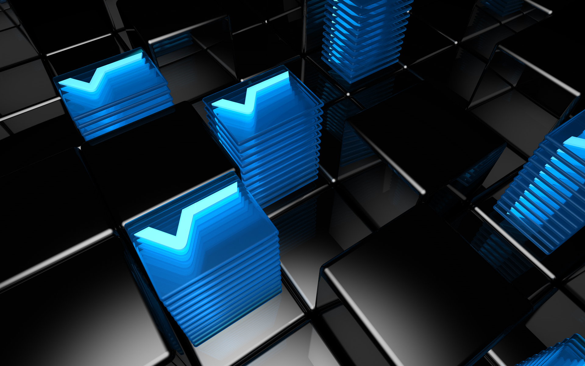 3d Cube In Black And Blue Abstract Qhd Wallpaper: Le Fancy Wallpapers