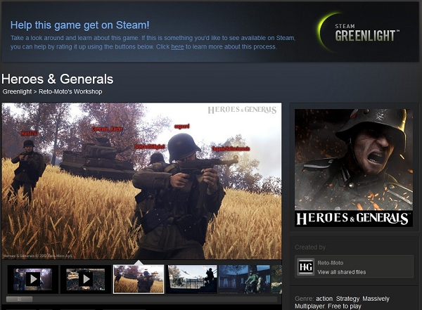 Do you want Heroes & Generals on Steam? Then Vote for it!