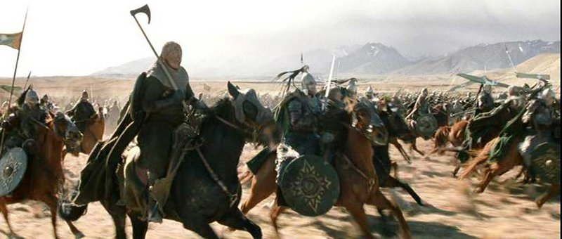 Rohirrim ride at Pelennor - 800x340, 57kB