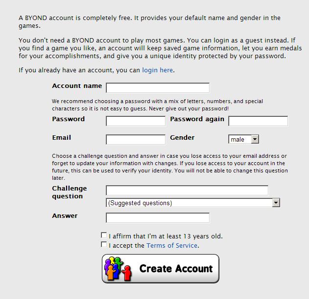 BYOND Registration page