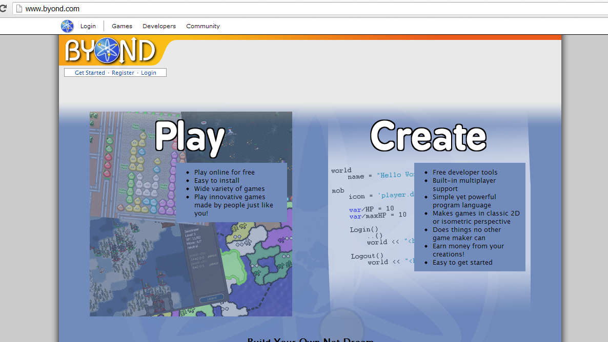 BYOND homepage