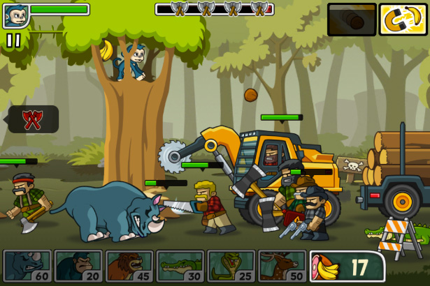 Game play preview for side-scrolling defense game Lumberwhack.