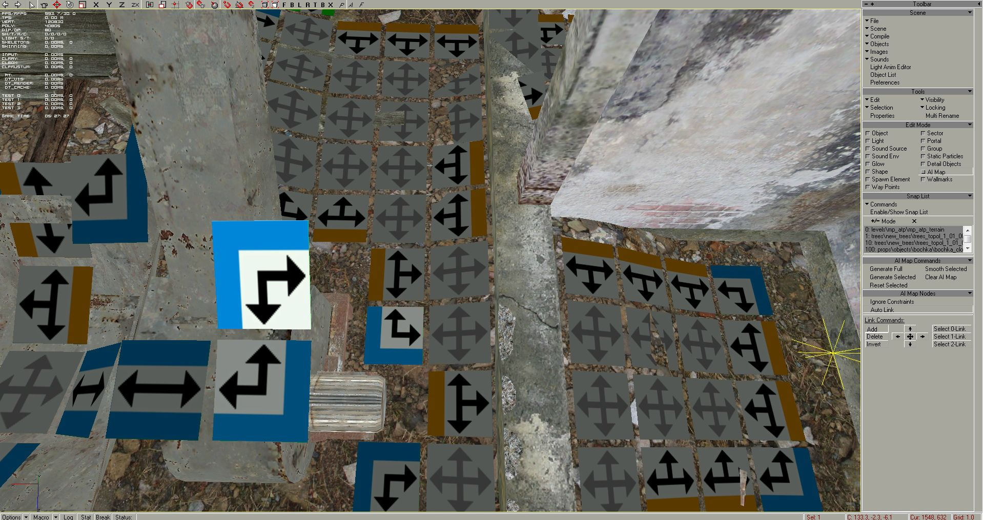 ... and again, the ai node at upper level wants to connect to the ground, but it has no connection above, so I just deleted it again - plus I deleted all the ai nodes from the machine and done, it would be a weird place to walk for AI